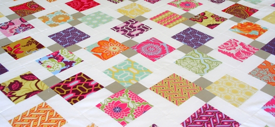 Making quilts with scraps of cloth